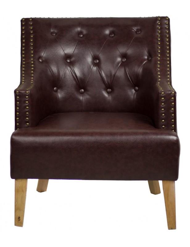 fauteuil président cuir reconstitué clous tapissier coloris marron ... 637dbc8995fb
