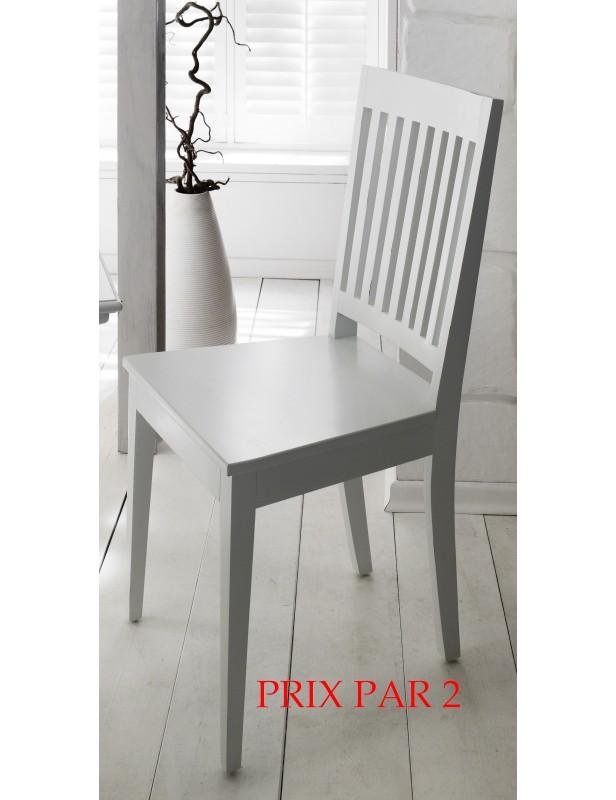Chaises blanches acajou vendu x 2 salle à manger