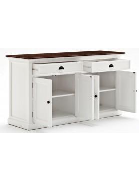Buffet blanc plan de travail bois 2 tiroirs 2 portes