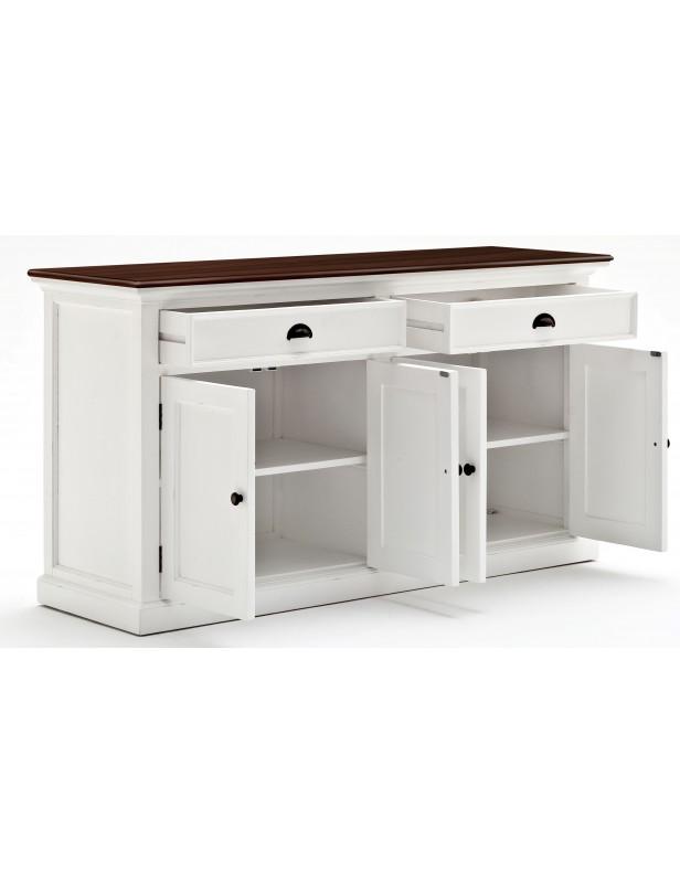 Buffet blanc 2 tiroirs 2 portes plande travail bois bois massif for Buffet 2 portes 2 tiroirs