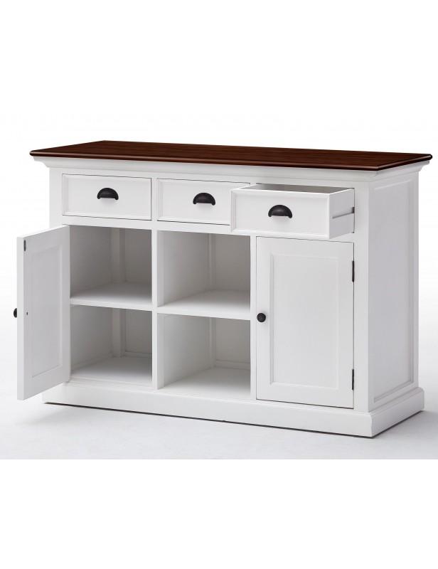 Buffet blanc plan de travail bois 3 tiroirs 2 portes 2 paniers osier