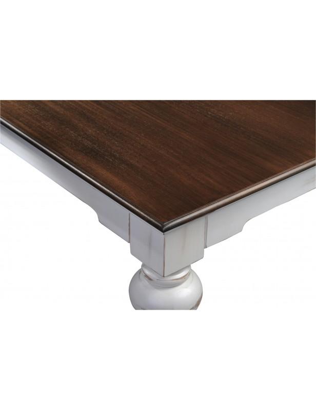 Table basse carrée acajou massif blanc dessus bois