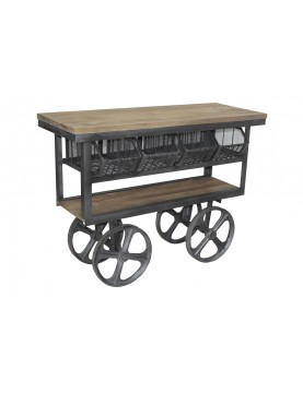 Trolley desserte sur roues bois recyclé