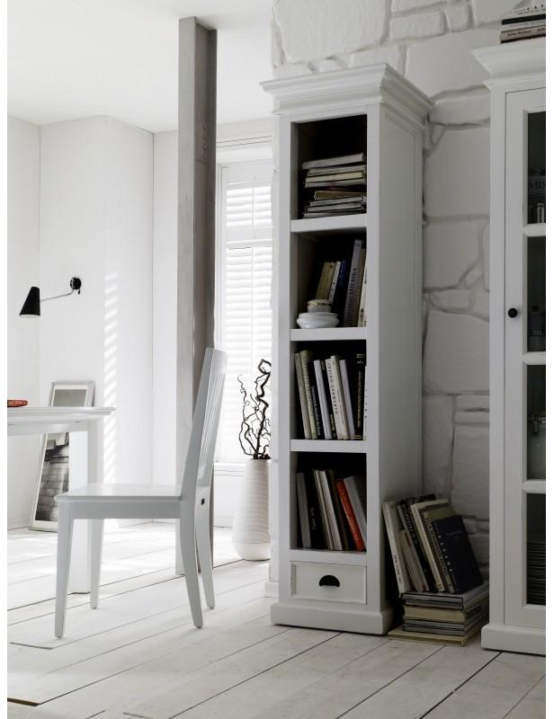 Bibliothèque étroite acajou blanc 4 étagères halifax