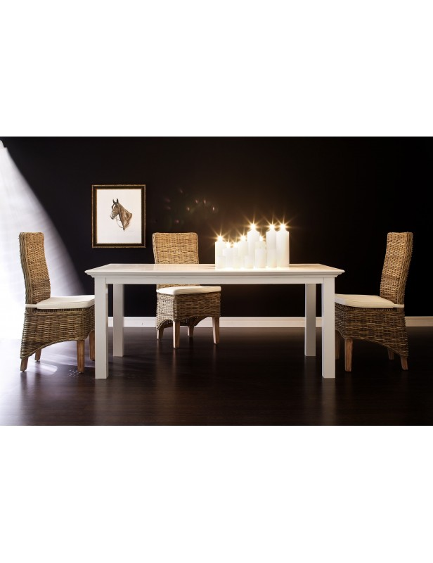 Table salle à manger 180 acajou blanc