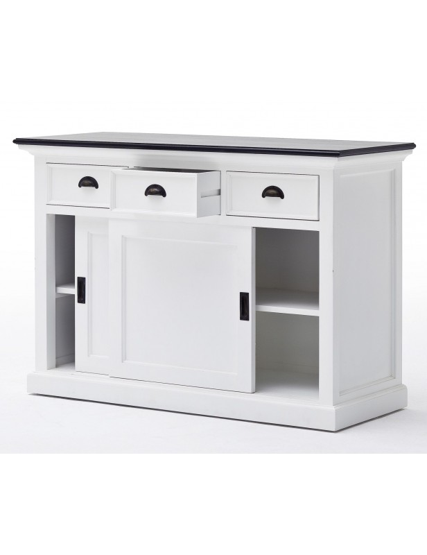 buffet blanc 3 tiroirs 2 portes coulissantes acajou massif. Black Bedroom Furniture Sets. Home Design Ideas