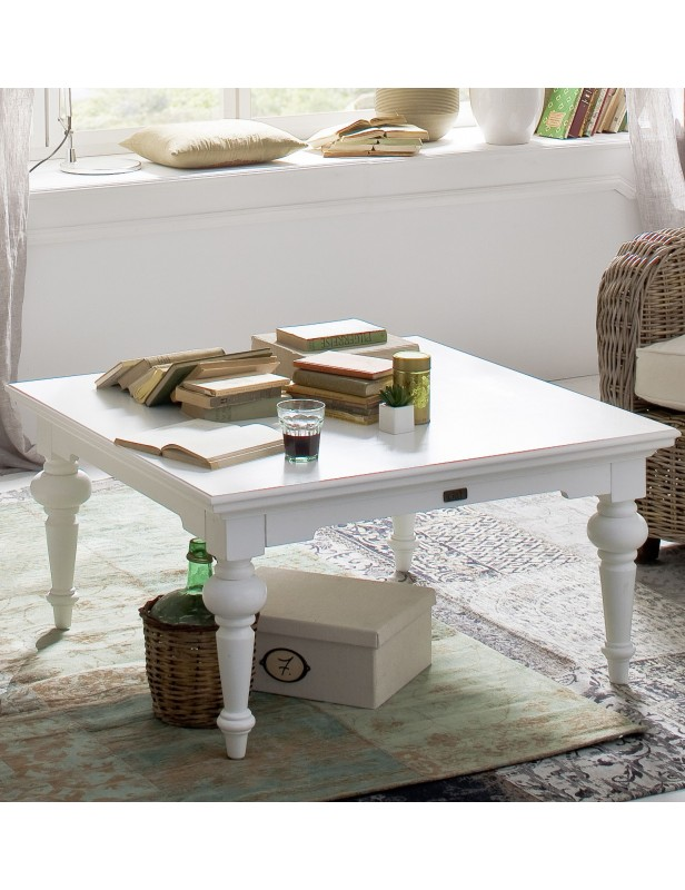 table basse carr e acajou massif blanc. Black Bedroom Furniture Sets. Home Design Ideas